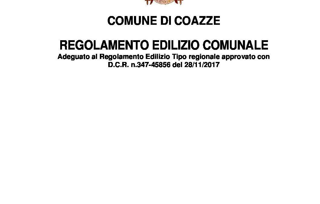 REGOLAMENTO EDILIZIO COAZZE