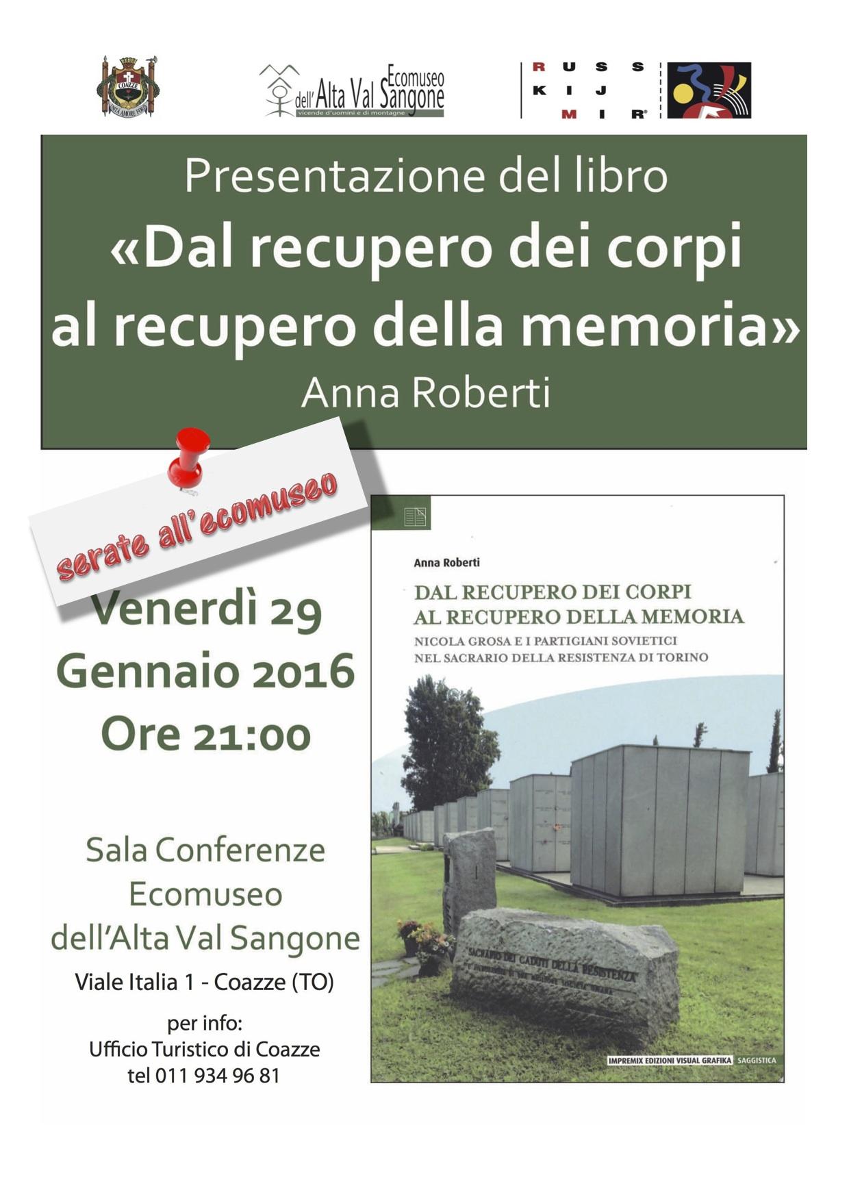 """Presentazione libro """"Dal recupero dei corpi al recupero della memoria"""" 29/01/2016"""