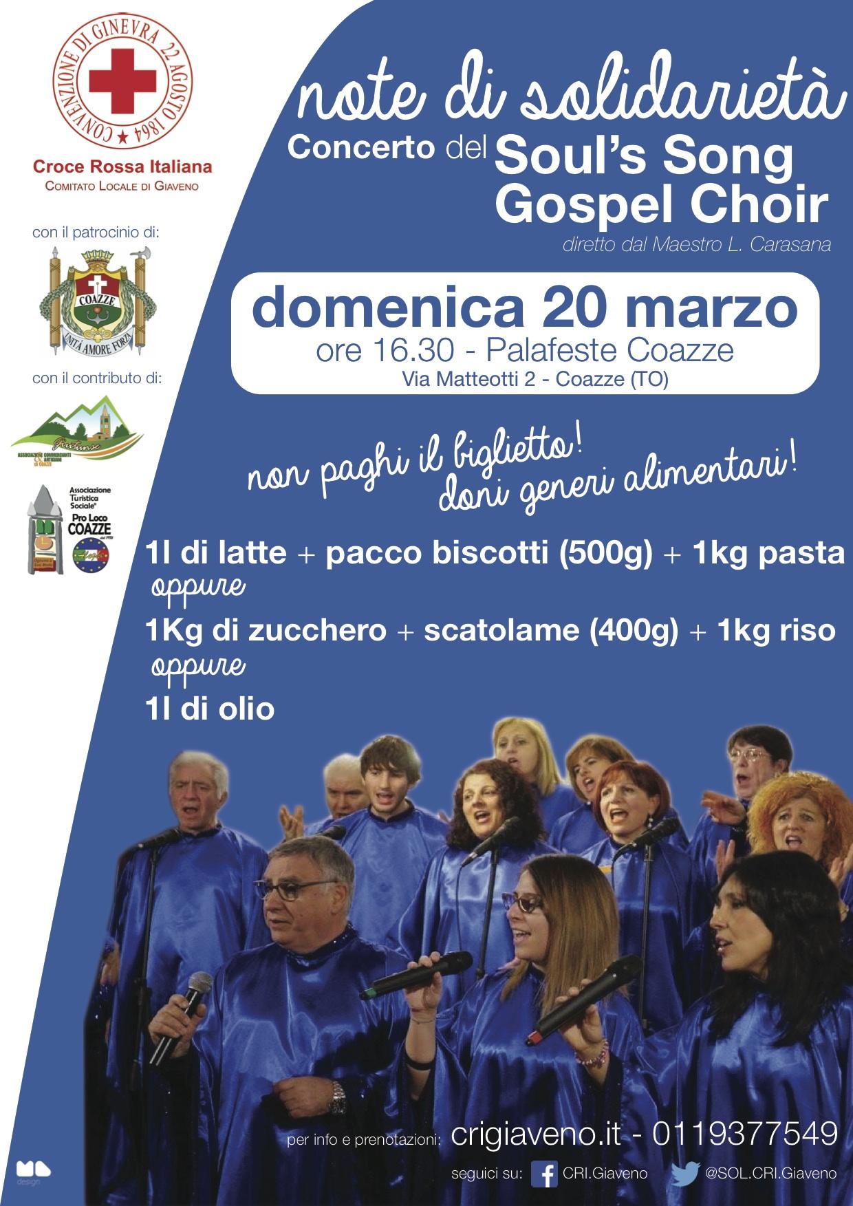 Concerto di solidarietà della Croce Rossa – domenica 20 marzo – palafeste Coazze