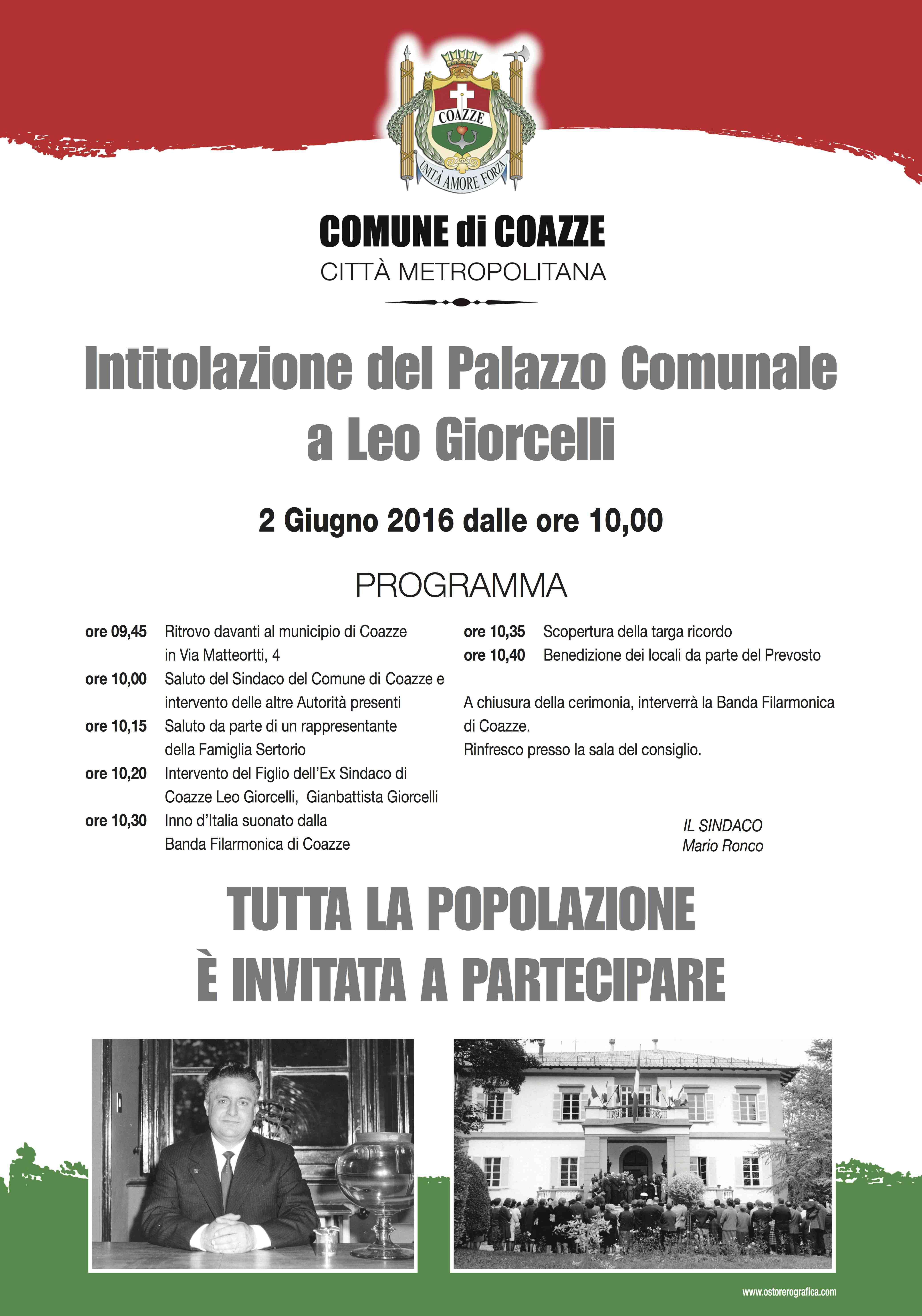 Intitolazione del Palazzo del Comune a Leo Giorcelli – 2 Giugno 2016