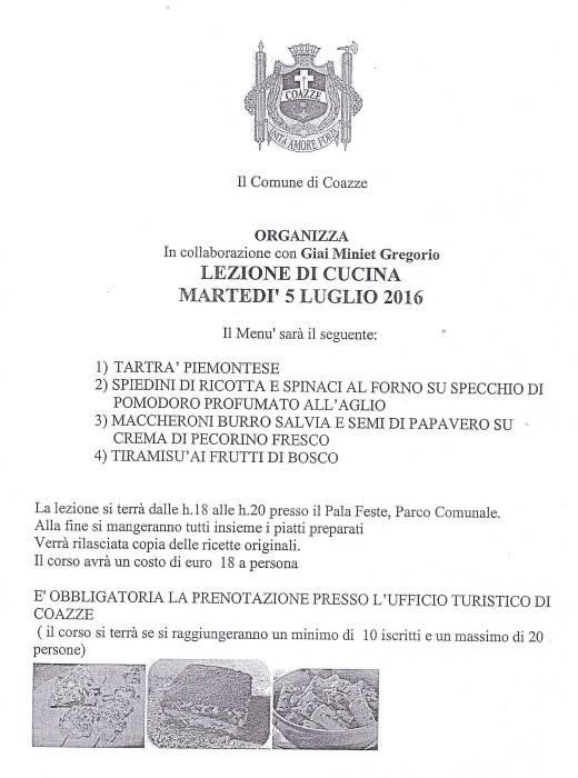 LEZIONE DI CUCINA – MARTEDI' 5 LUGLIO 2016