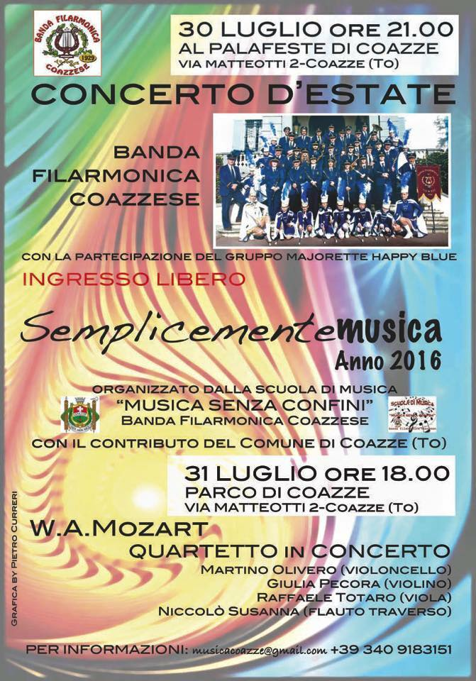 30 e 31 luglio due eventi con la Banda Filarmonica Coazzese