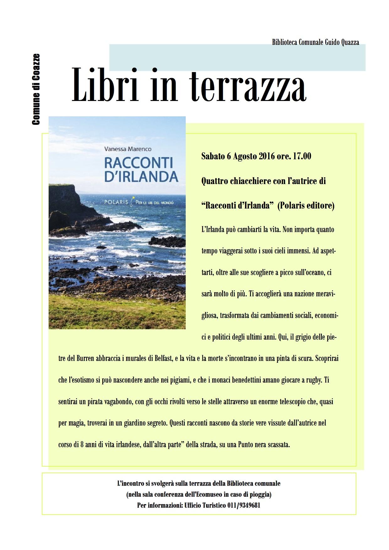 """Presentazione del libro """"Racconti d'Irlanda"""" di Vanessa Marenco – Sabato 6 agosto 2016 – ore 17,00 – Terrazza della biblioteca di Coazze"""