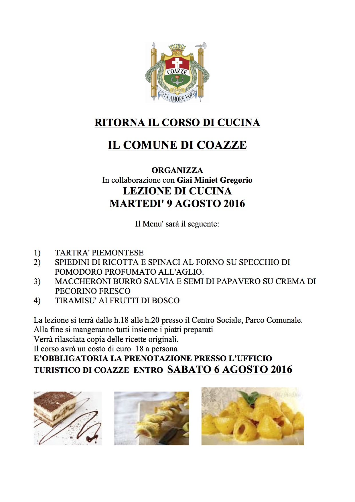 Ritorna il corso di cucina – 9 agosto 2016 – centro sociale Parco Comunale