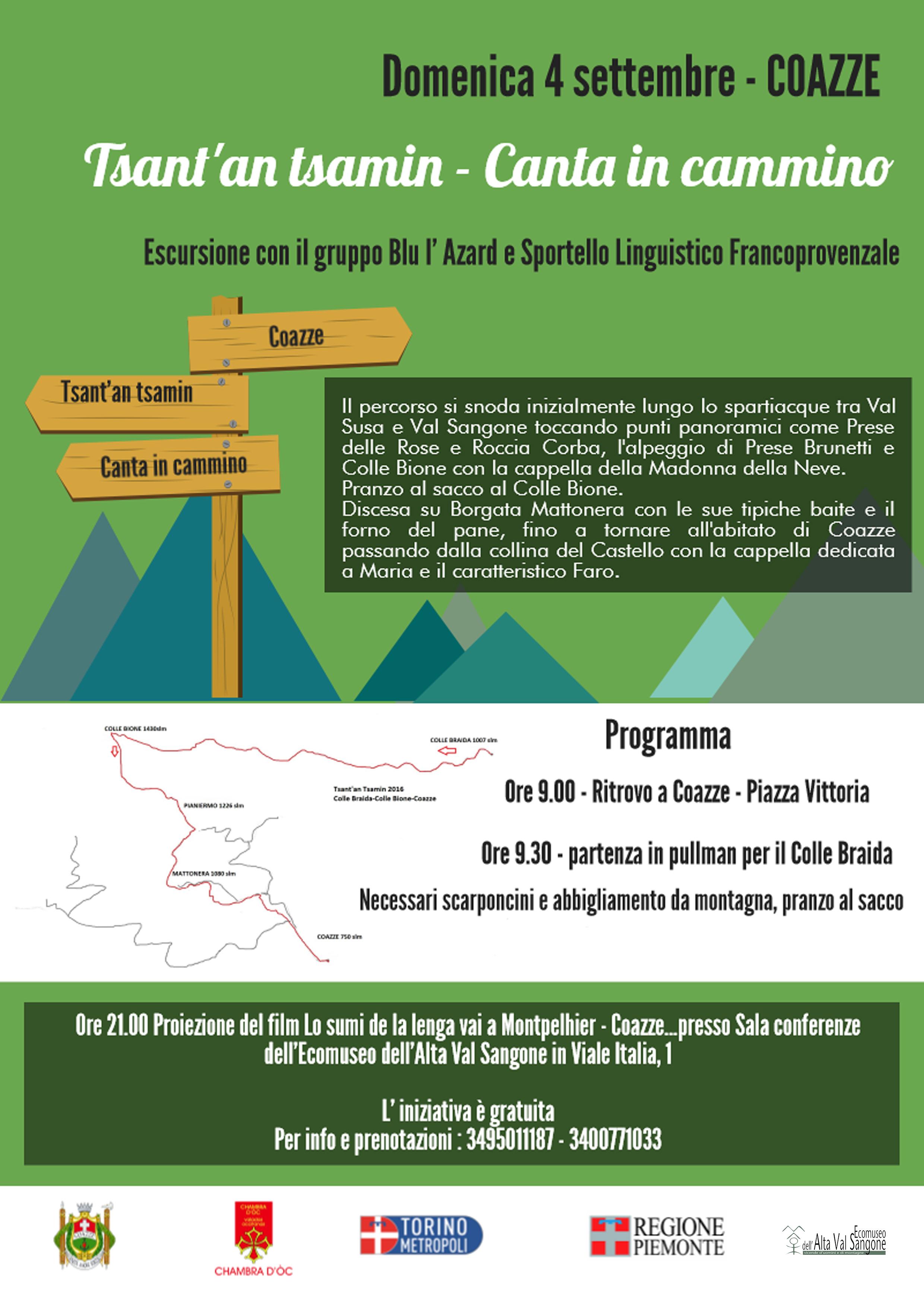 Domenica 4 settembre – Coazze – tsant' an tsamin – canta in cammino escursione con il gruppo Blu l'Azard e lo Sportello Linguistico Francoprovenzale