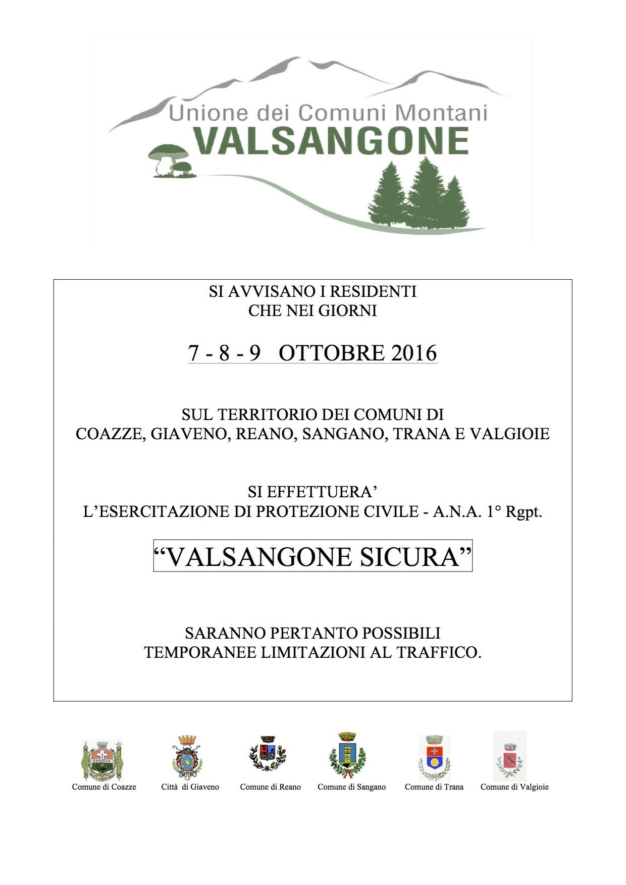 """ESECITAZIONE DI PROTEZIONE CIVILE """"VAL SANGONE SICURA"""" 7-8-9 OTTOBRE 2016"""