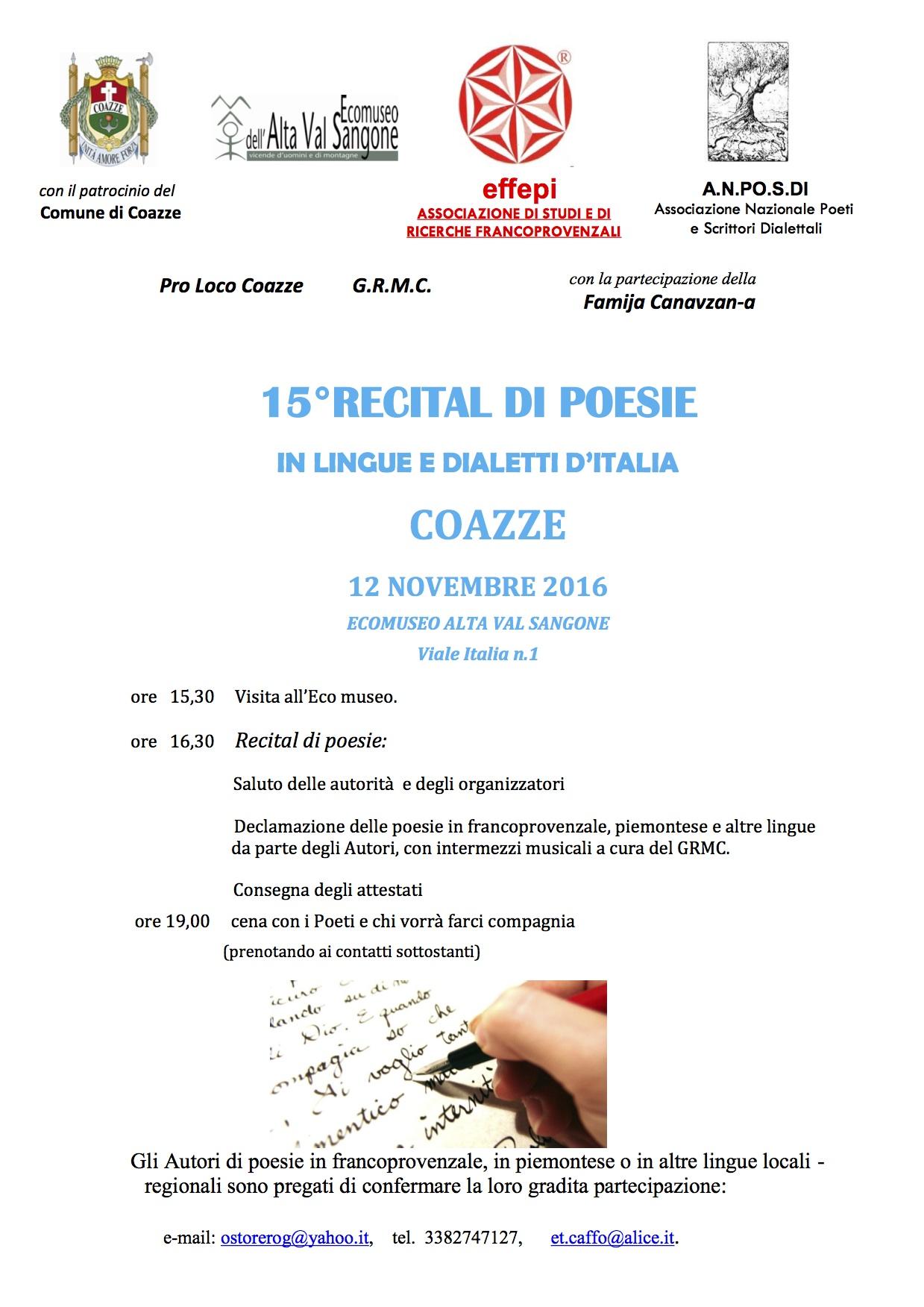 15°RECITAL DI POESIE IN LINGUE E DIALETTI D'ITALIA  COAZZE 12 NOVEMBRE 2016