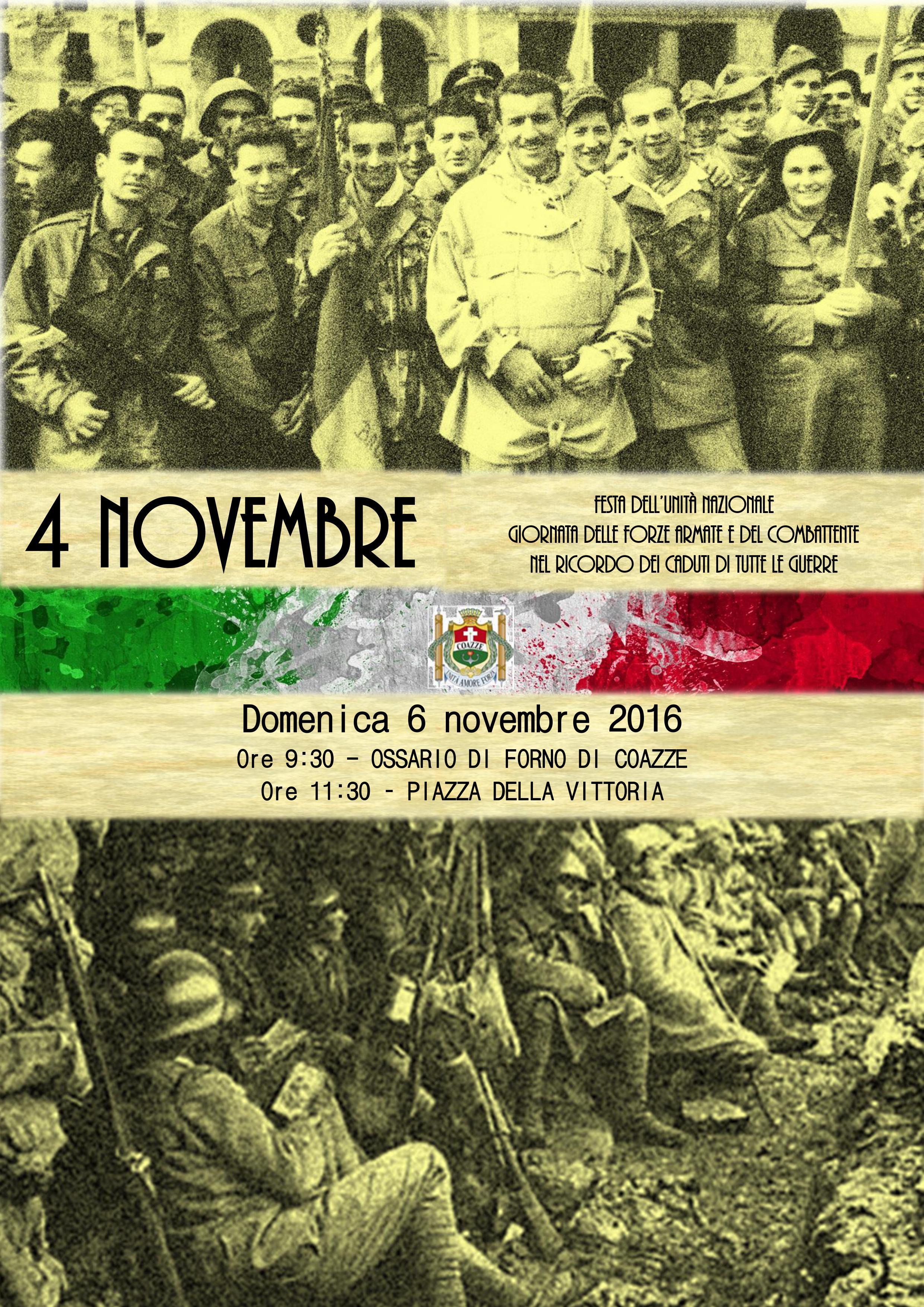 Festa dell'unità nazionale giornata delle forze armate e del combattente nel ricordo dei caduti di tutte le guerre Domenica 6 novembre 2016