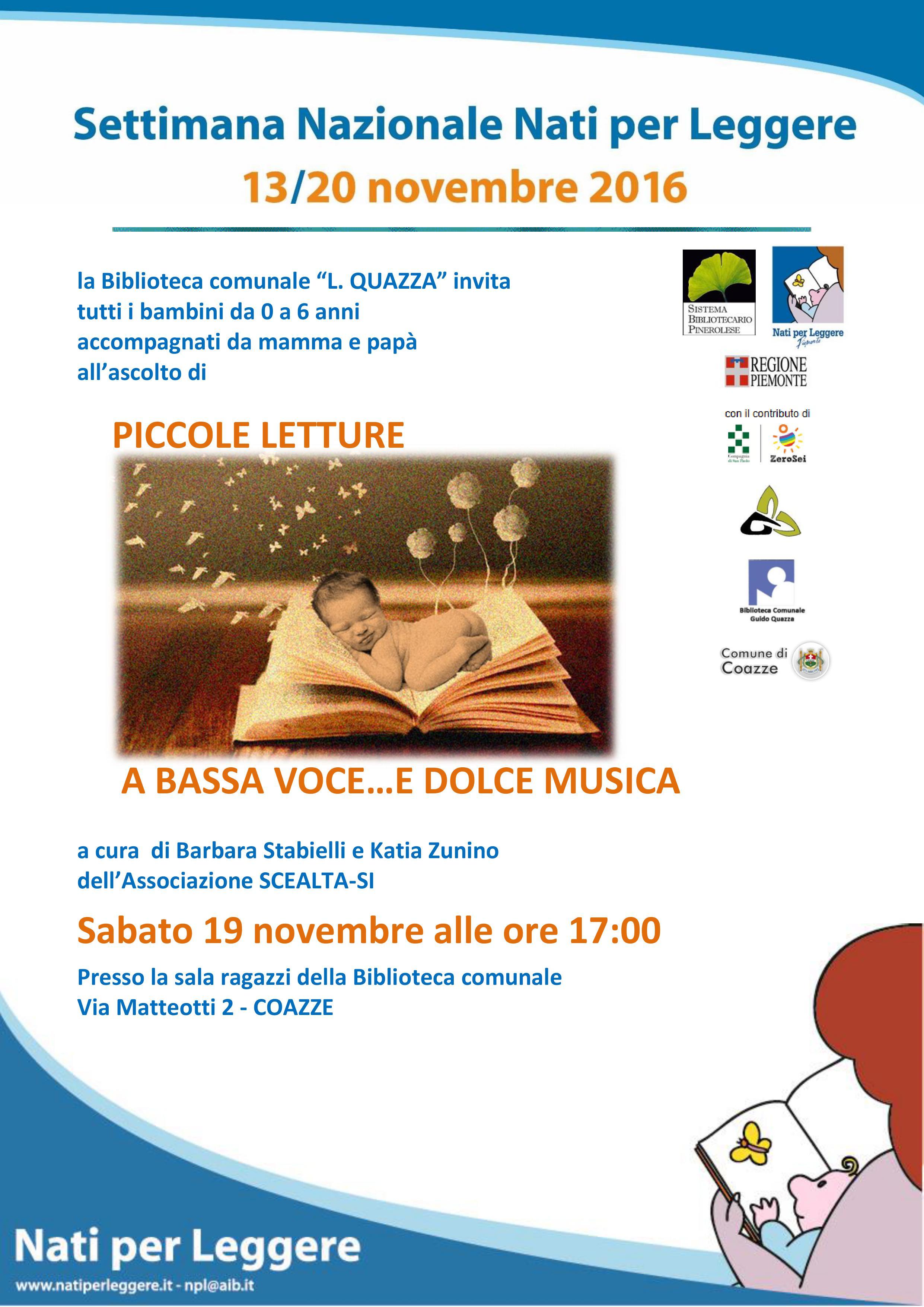 Piccole letture a Bassa Voce… e dolce musica – Sabato 19/11/2016 – Biblioteca Coazze