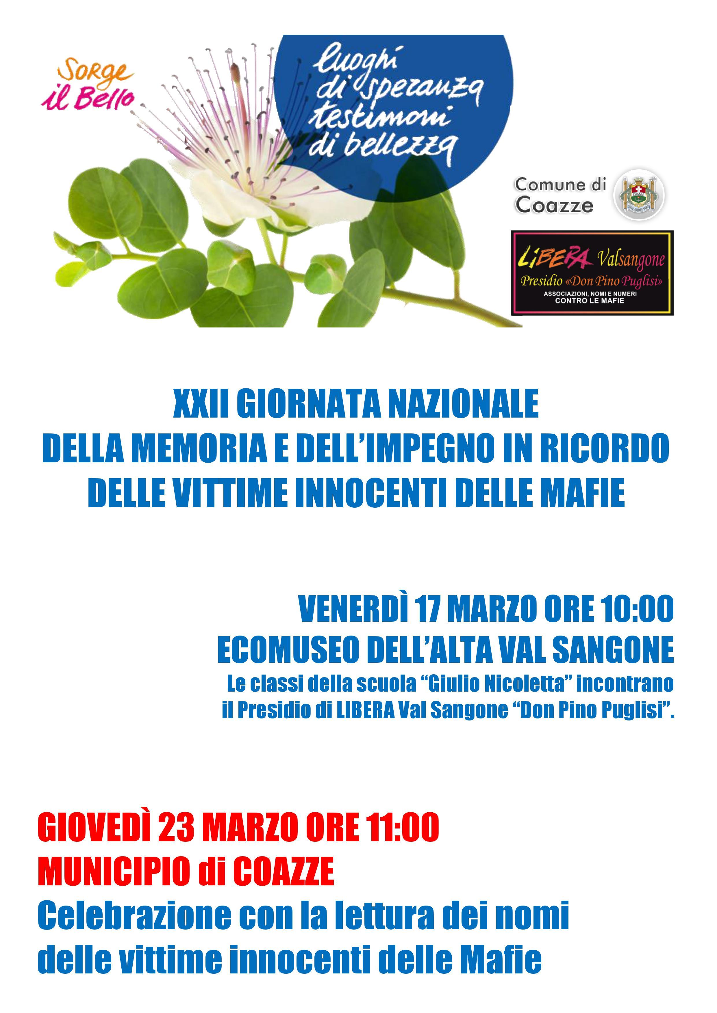 Libera contro le mafie – A COAZZE e in tutta ITALIA: GIORNATA DELLA MEMORIA E DELL'IMPEGNO IN RICORDO DELLE VITTIME INNOCENTI DELLE MAFIE