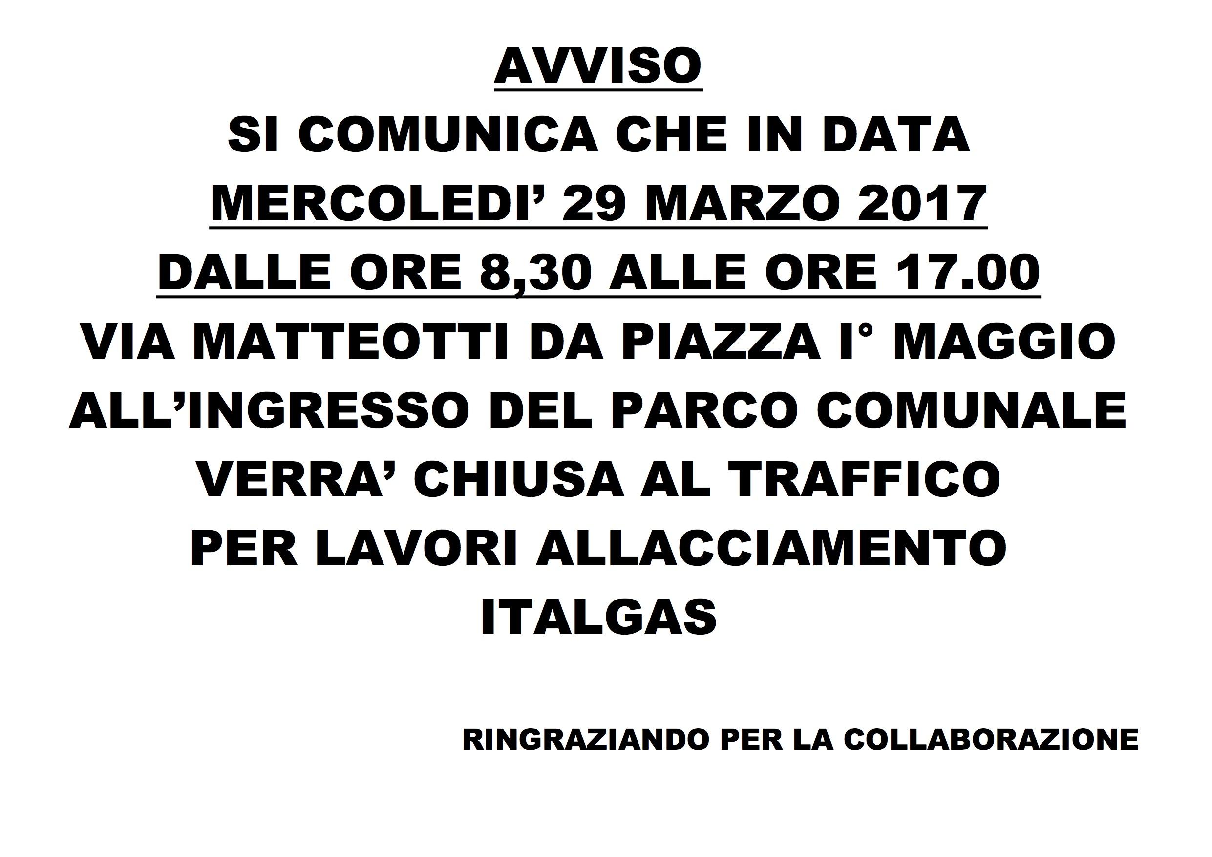 Avviso Chiusura Via Matteotti 29/03/2017