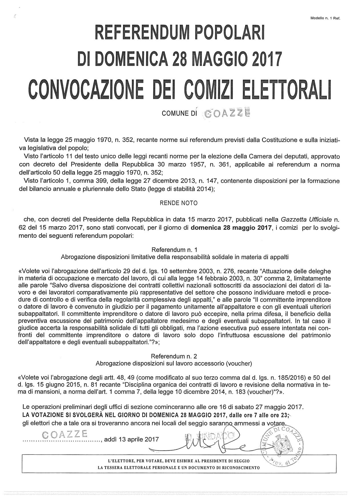 Referendum popolari di domenica 28 maggio 2017 – Convocazione dei comizi elettorali