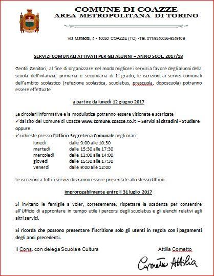 ISCRIZIONE AI SERVIZI COMUNALI – ANNO SCOLASTICO 2017/18