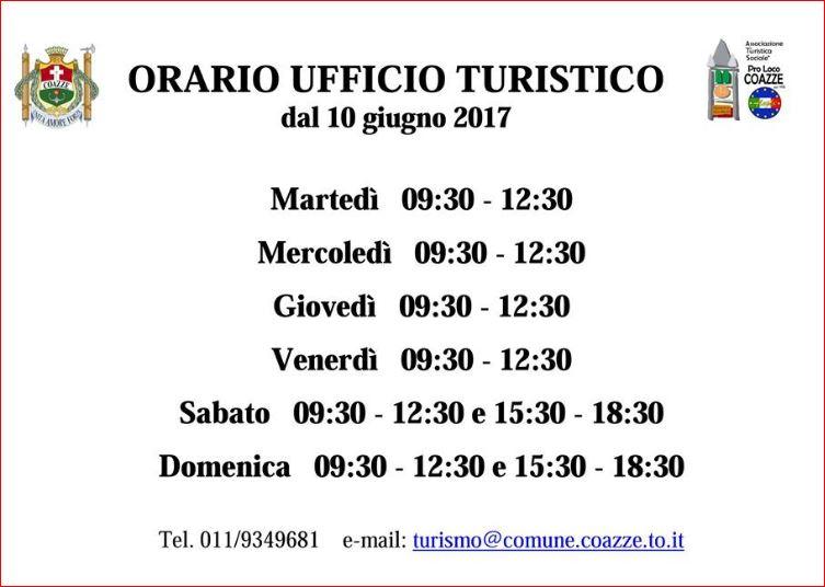 ORARIO ESTIVO DELL'UFFICIO TURISTICO