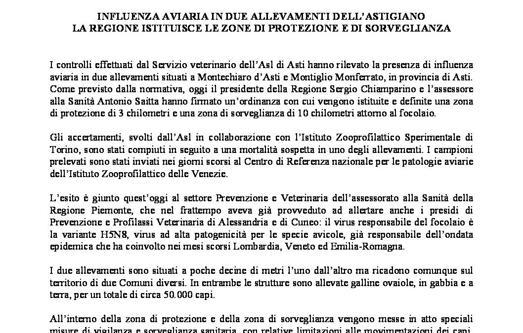 Influenza aviaria in due allevamenti Astigiani