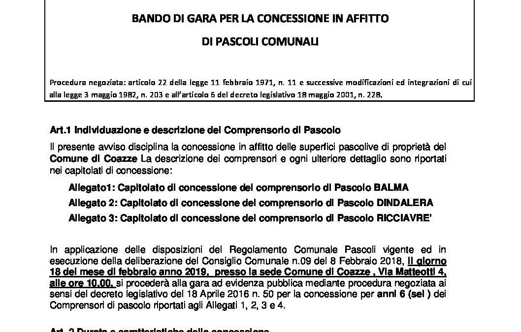 BANDO DI GARA GENERALE 2019