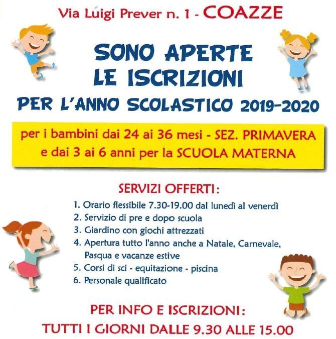 """Anno scolastico 2019/20 – Iscrizioni alla classe """"primavera"""" dell'asilo Prever"""