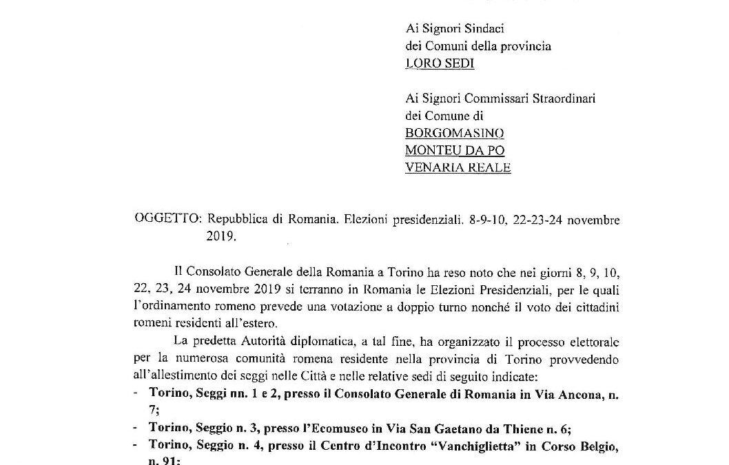 Repubblica di Romania – Elezioni presidenziali – Comunicato della Prefettura di Torino