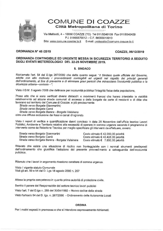 ORDINANZA N. 46 PER LAVORI INCONTINGIBILI ED URGENTI _ALLUVIONE 2019