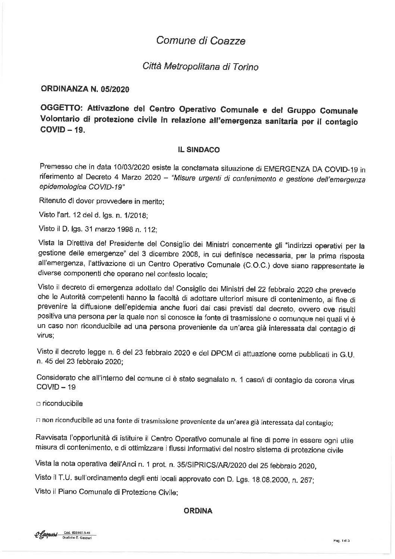ORDINANZA N. 5/2020_ ATTIVAZIONE C.O.C.
