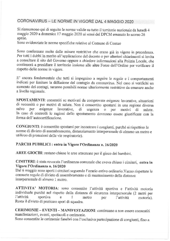 ORDINANZA N. 16/2020 DEL 05/05/2020_ RIAPERTURA CIMITERO_PARCO_NUOVE INDICAZIONI