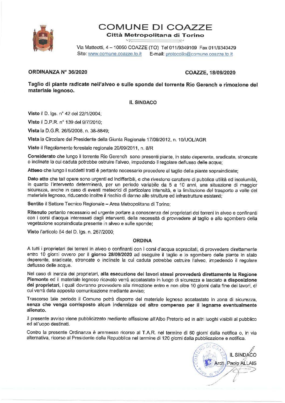 ORDINANZA TAGLIO PIANTE ALVEO E SPONDE RIO GERENCH