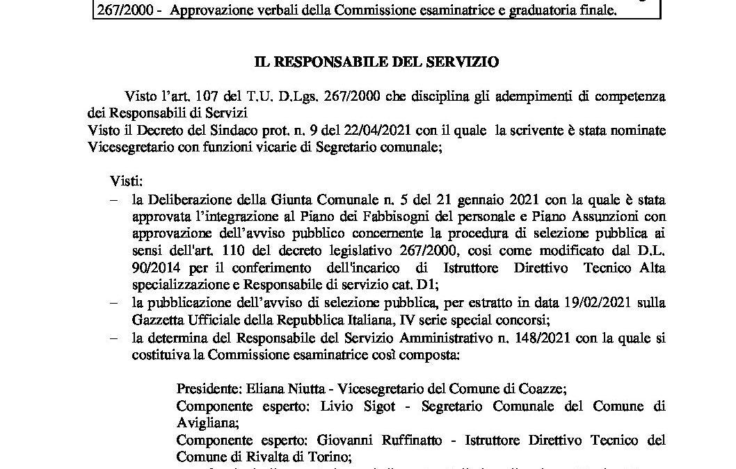 Determinazione del Segretario Comunale 177_2021